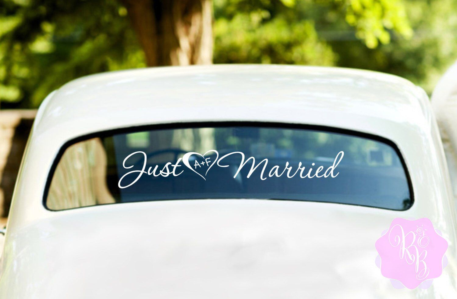 Just Married Heart And Initials Wedding Car Window Decal Multiple