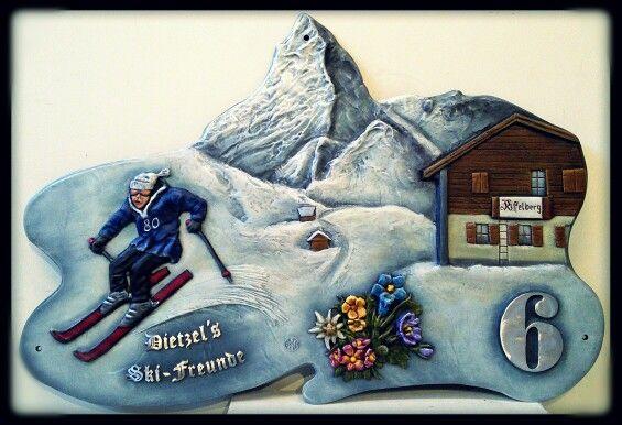 Hausnummernschild Skifahrer