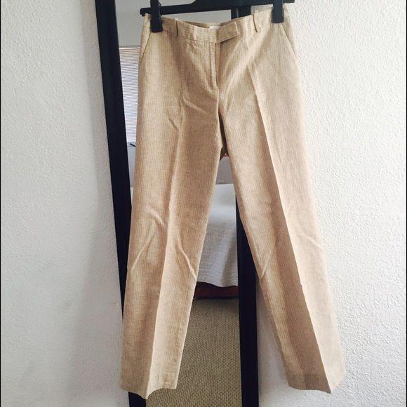 Calvin Klein stripe beige linen pants Like new Size 4 wide leg linen striped pants Calvin Klein Pants Trousers