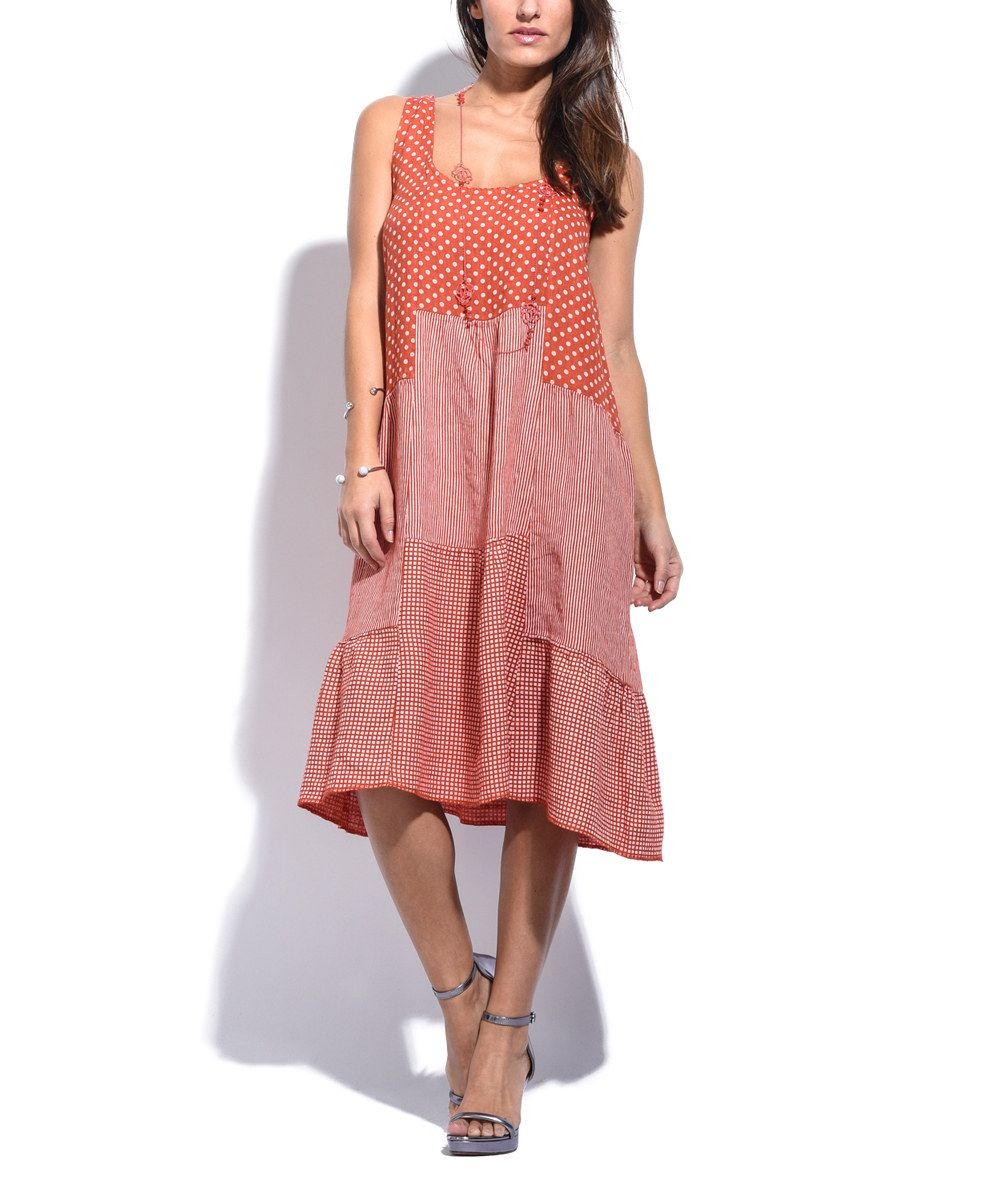Couleur Lin Orange Polka Dot & Stripe Sleeveless Linen Shift Dress ...