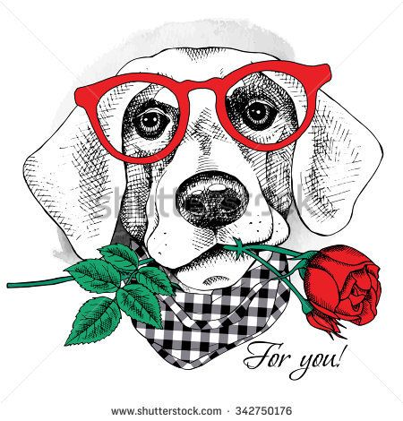 Card of Valentine's Day. Dog portrait in glasses with red ...