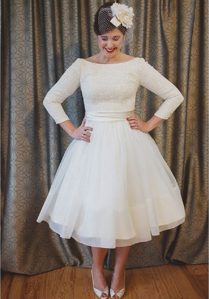 Vintage Lace 1950s Tea Length Wedding Dress 2017 Scoop Aline Three Quarter Sleeve Simple Boho Bridal Gowns Plus Size: Simple Short Wedding Dresses Plus Size At Websimilar.org