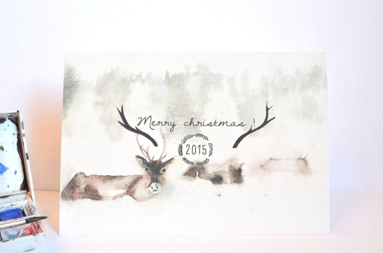 Carte De Voeux Et Enveloppe Joyeux Noel Rennes Pole Nord
