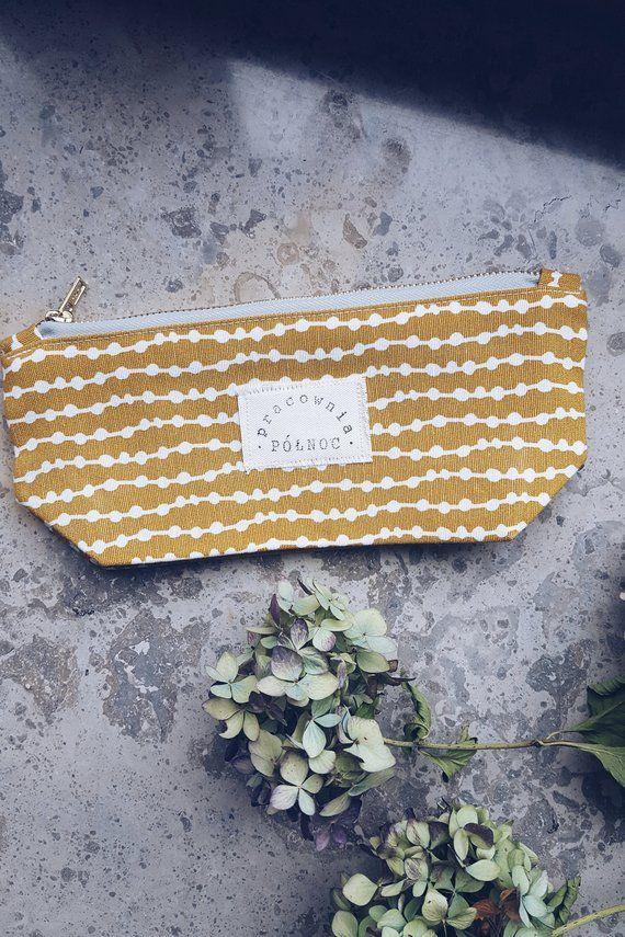 Mustard yellow pencil case, vintage fabric pencil case