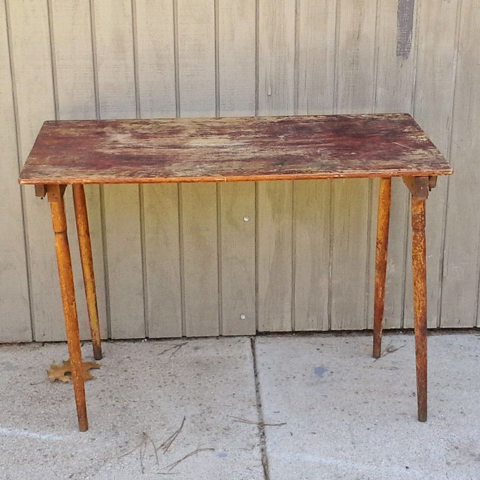 Antique Folding Sewing Table with Ruler by theindustrycottage on Etsy - Antique Folding Sewing Table With Ruler By Theindustrycottage On