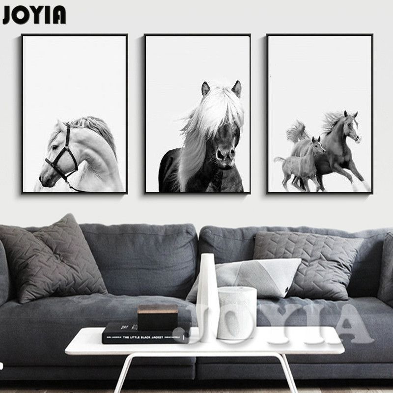 Horse Decor Painting Art Modern Minimalist Home Decorative Black And White Horses Wall Prints 3 Piece Horse Photos Horse Wall Art Canvases Painting Horse Decor
