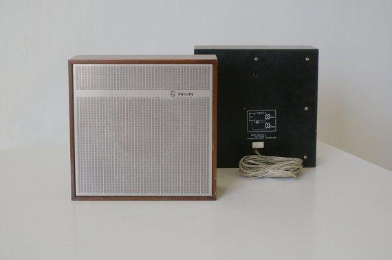 Vintage Philips Speakers Square Wooden Frame Modern Design Retro Design Philips Surround Sound Speakers Vintage