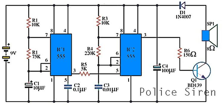 police siren circuits with ic555 in 2018 electronics pinterest rh pinterest com