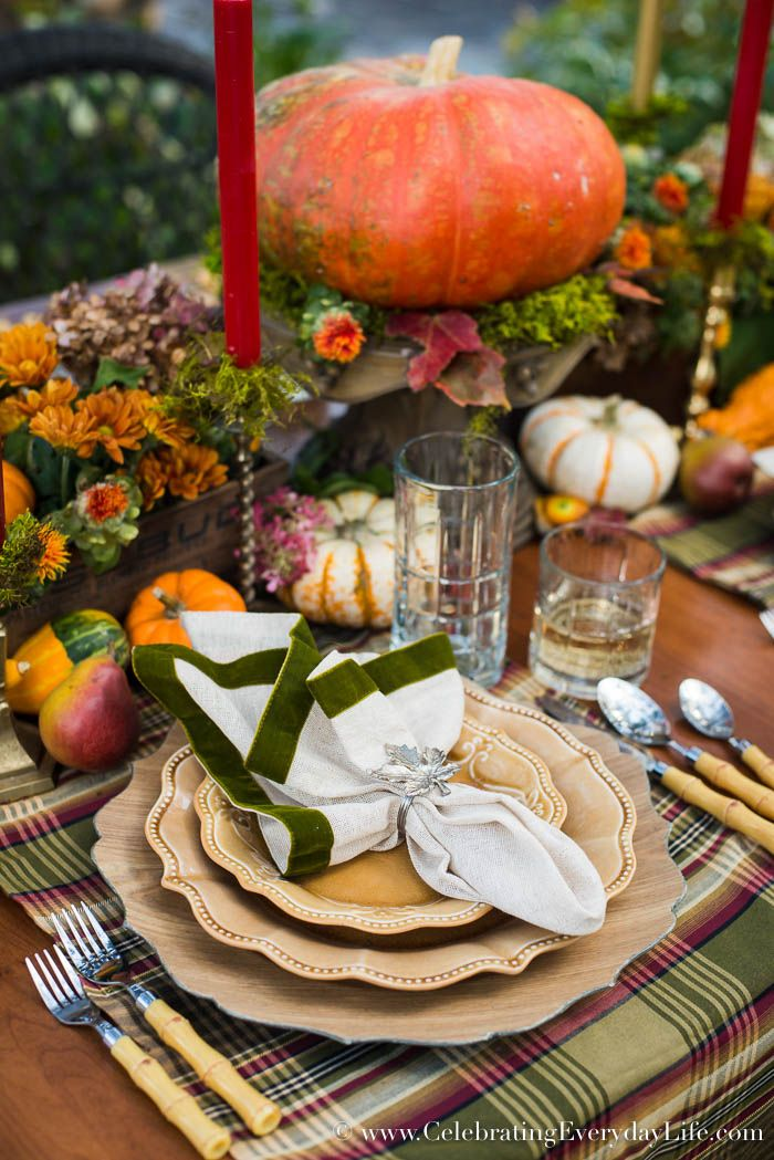 A Fall Tablescape, Welcome Autumn, Fall Entertaining, Outdoor Fall Entertaining, Autumn Table, Pumpkin Centerpiece