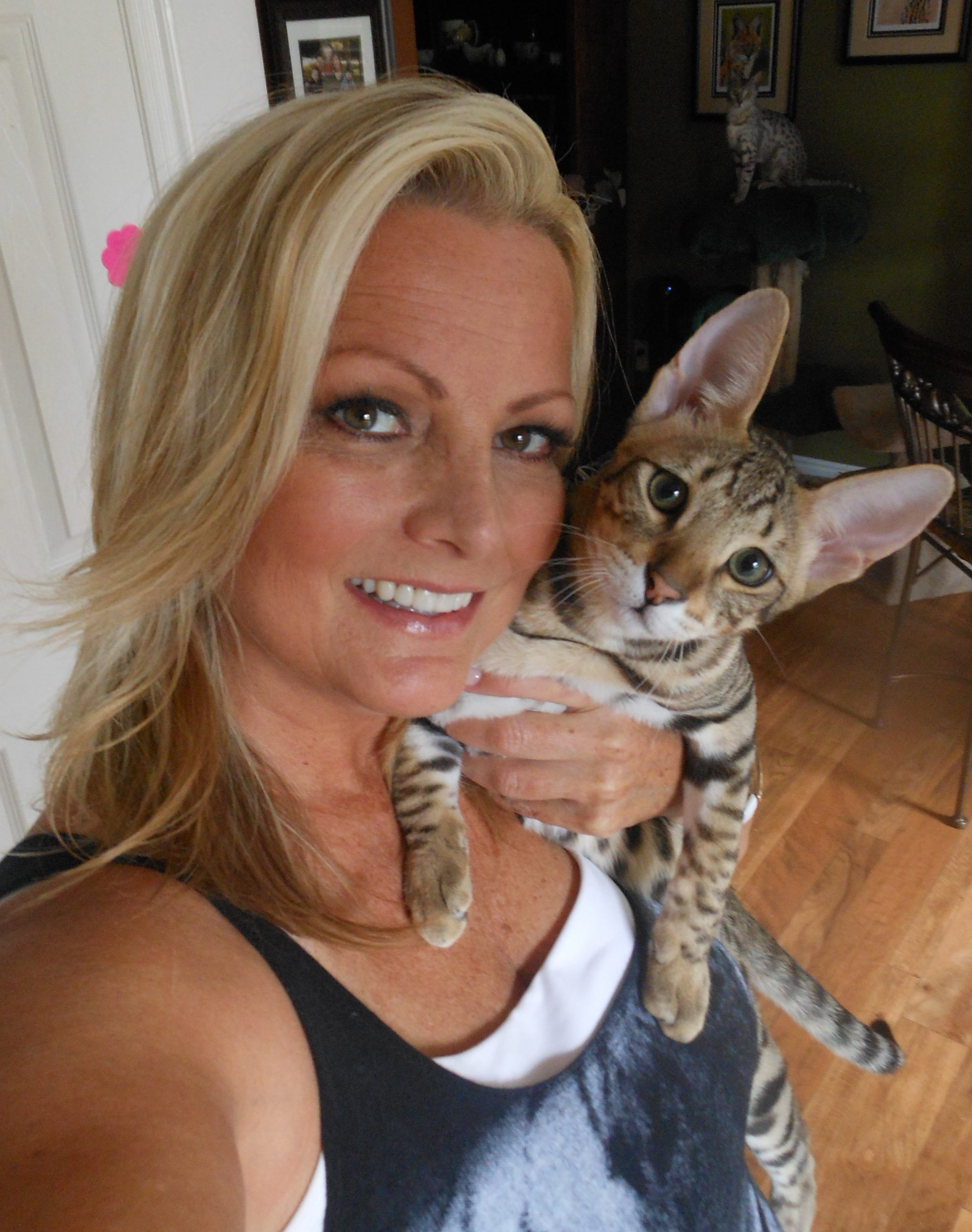 5 Month Old F3 Savannah Kitten Valentino And His Breeder Jannel Contact Me For Info On Owning A Beautiful Savanna Savannah Kitten Savannah Chat 5 Month Olds