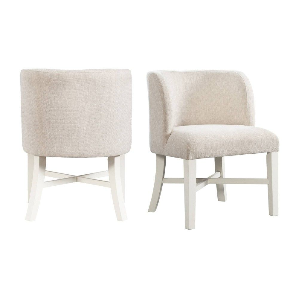 Set Of 2 Barrett Parson Chair Set Natural White Picket House Furnishings Upholstered Dining Side Chair Side Chairs Dining Upholstered Dining Chairs Parsons chairs set of 2