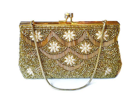 Hong Kong Purse Beaded Sequin Gold Metallic Faux by zephyrvintage