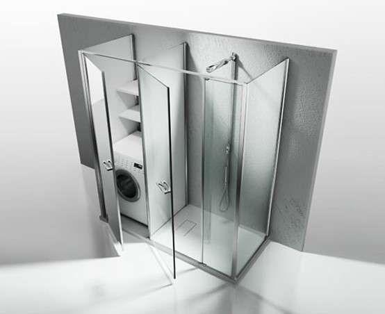Bagno piccolo con lavatrice Box doccia con vano