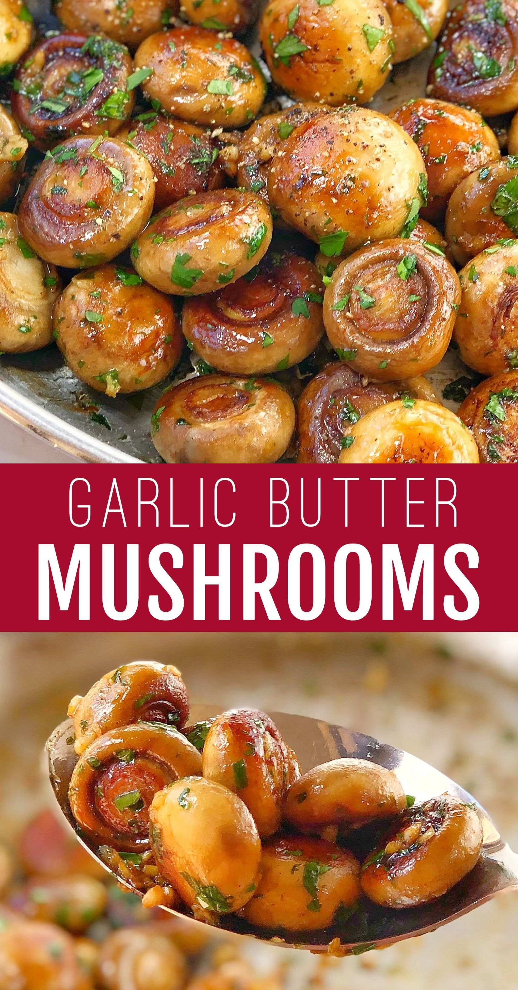 Garlic Mushrooms sauteed in butter, a great vegan side dish! So easy, just fried on the stove. A great accompaniment for steak or pork chops. #chefnotrequired #sauteedmushrooms #garlic #chickensidedishes
