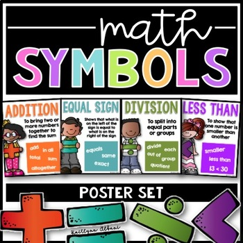 Use This Poster Set To Remind Your Students Of Basic Math Symbols And How They Are Used This Set Includes Multiplication Math Signs Posters Math Signs Math