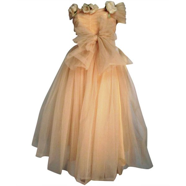 1950s Mary Carter Peach Tulle Debutante Party Dress ❤ liked on Polyvore featuring dresses, gowns, long dresses, tulle dress, long beige dress, long wrap dress and peach cocktail dress