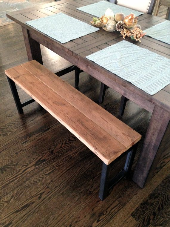 The Tartan Bench is made from reclaimed wood planks and industrial steel. The perfect pairing to a dining set, or for an entryway! Measurements: