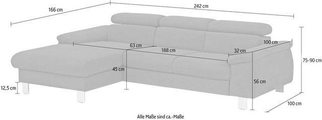 »Komaris« corner sofa, with headrest adjustment, optionally with bed function and RGB LED lighting  – Products