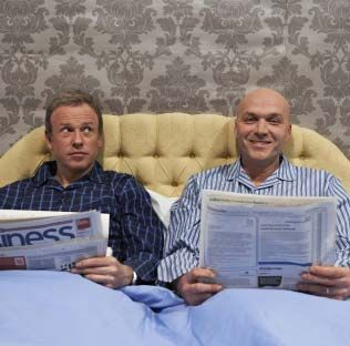 Simon Rimmer and Tim Lovejoy in bed - great veggie cooking