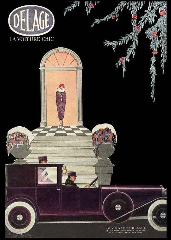 VTG 1920/'s French Auto Car DELAGE Nouveau Chauffeur Woman Winter Art PRINT
