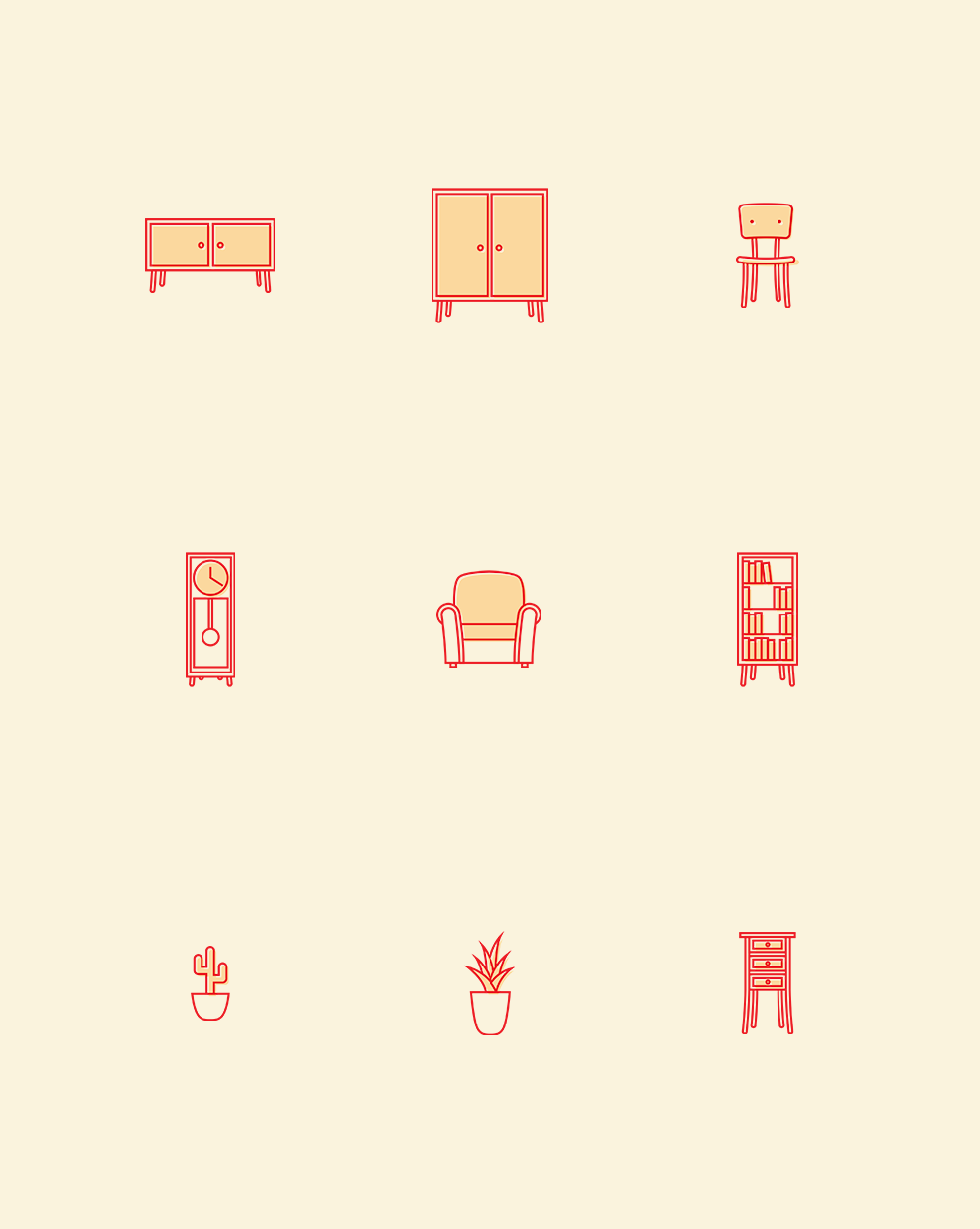 creative furniture icons set flat design. Creative Furniture Icons Set Flat Design. Free Home Pack Ai  Graphic Design C