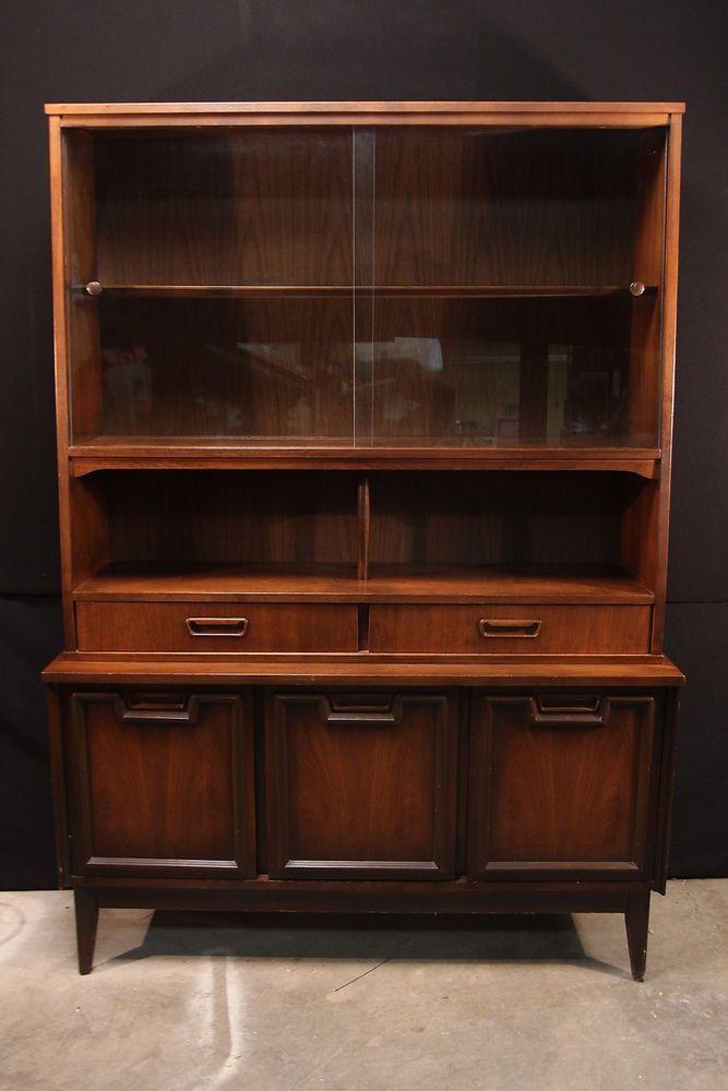 Vintage Mid Century Modern China Cabinet Hutch Garrison Furniture FREE  SHIPPING #MidCenturyModern #Garrison BIN