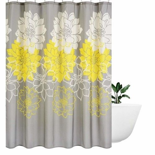 Flower Fabric Shower Curtain Mildew Resistant Waterproof Standard S Fabric Shower Curtains Bathroom Curtains Curtains