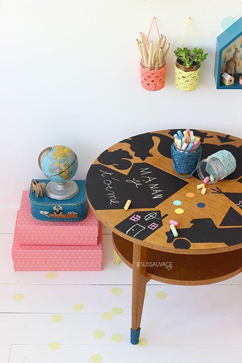Erilainen liitutaulupöytä