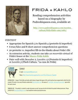 Frida Kahlo Una Biografia Preterite Imperfect Spanish Reading