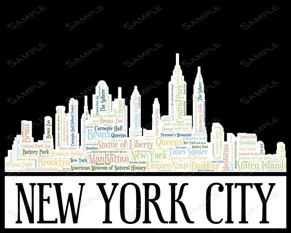 Personalized New York Skyline Birthday Gift Word Art 8 X 10 Print 21st 30th 40th 50th 60th 70th 80th Ideas