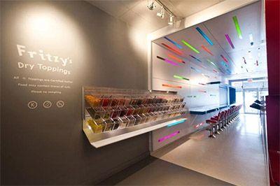 candy store interior branding designer Frozen Yogurt Shop Design