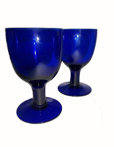 Super Big Cobalt Blue Goblets S/2