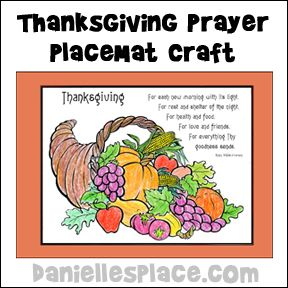 Thanksgiving Placemat With Poem Craft From Www