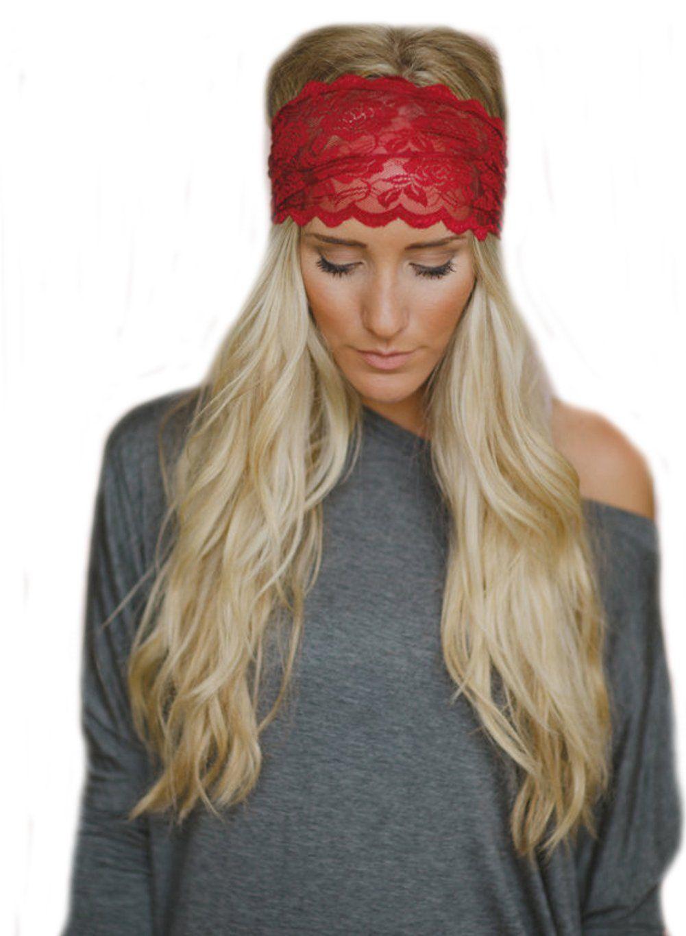 Ewandastore Women 80s Lace Retro Bohemia Headband Turban Twist Head Wrap  Headband Head Scarf Twisted Knotted Soft Hair Band(Dark Red)    Read more  details ... 1035ef75544