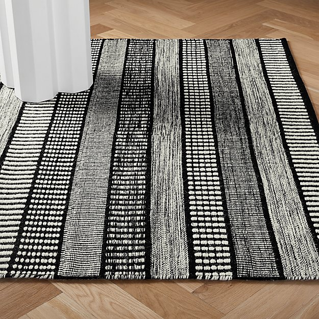 Sloane Handloom Back And White Striped Rug Cb2 Striped Rug Modern Area Rugs Unique Rugs