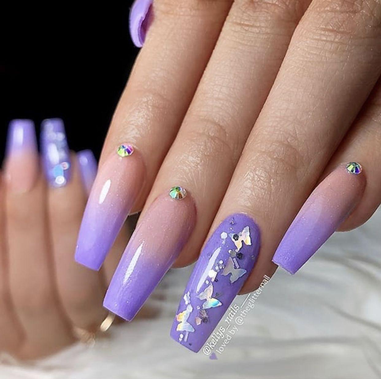 Trending Bridal Nail Art Design Ideas Best Bridal Nail Art Inspiration Easy Nail Art Ideas In 2020 Purple Acrylic Nails Purple Ombre Nails Ombre Acrylic Nails