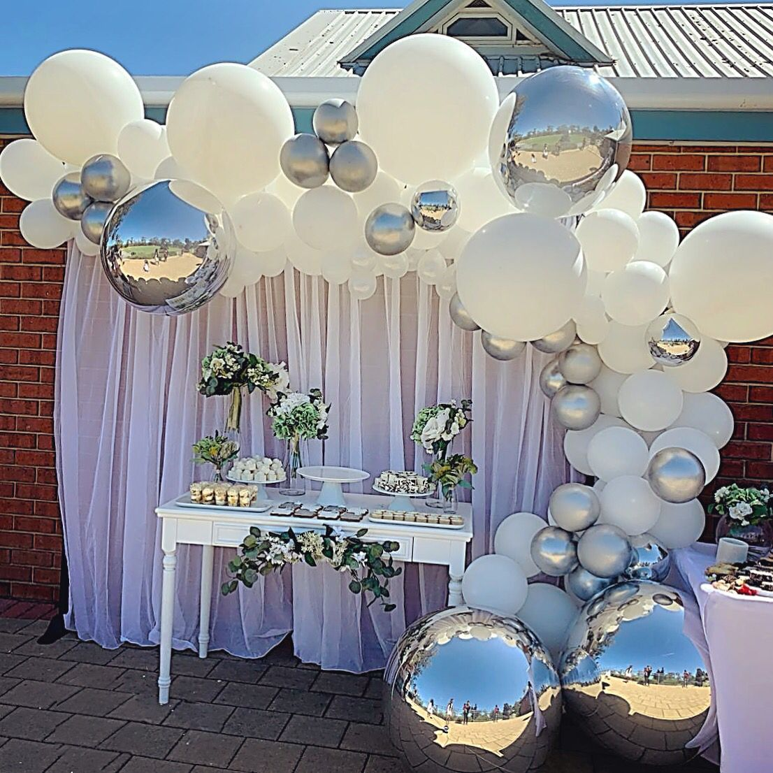 White And Silver Balloon Garland By Stylish Soirees Perth Silver