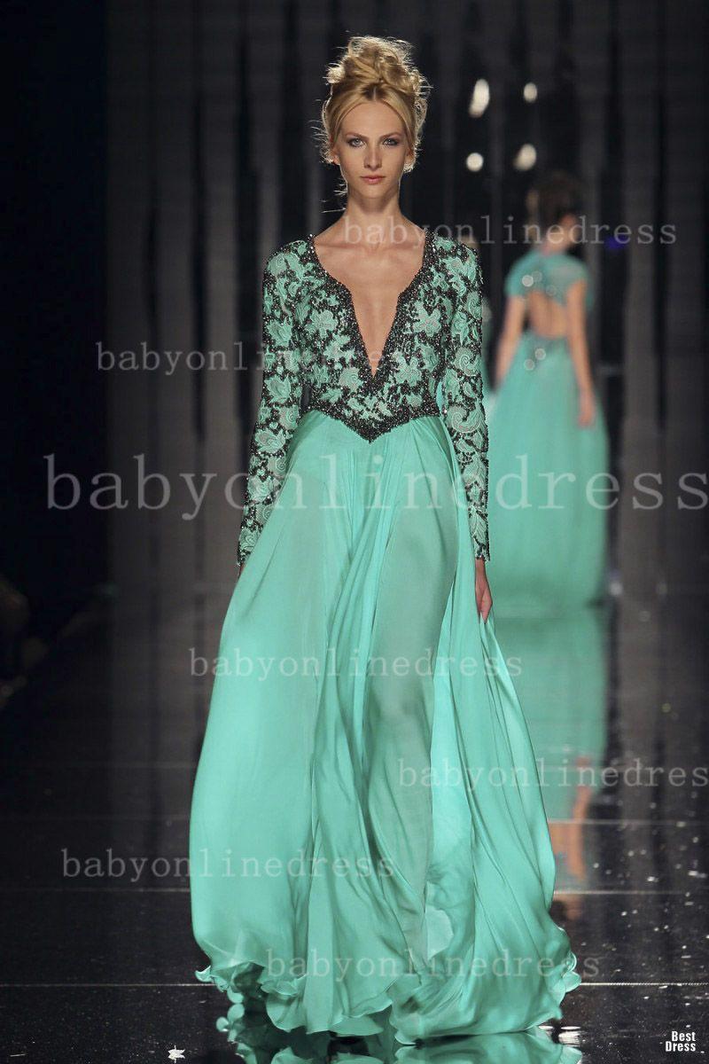 Gorgeous designer V-neck long sleeves prom dress runway summer ...