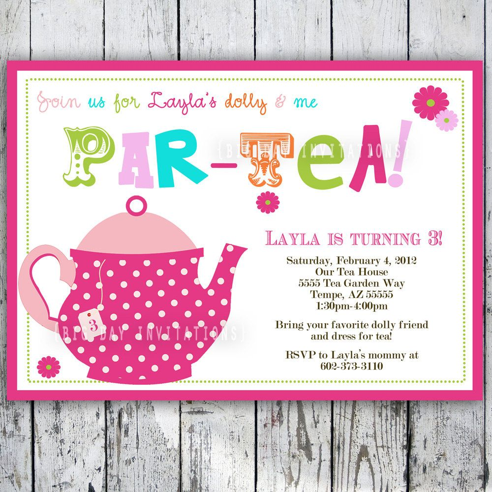Tea Party Birthday Invitation Tea Party Birthday Invite – 3 Year Old Birthday Invitation