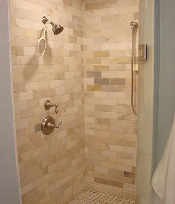bathroom floor tiles on tile backsplash shower wall tile same bathroom as picture at left