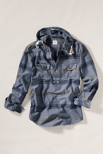 Men's Chambray Popover Hoodie from Lands' End Canvas