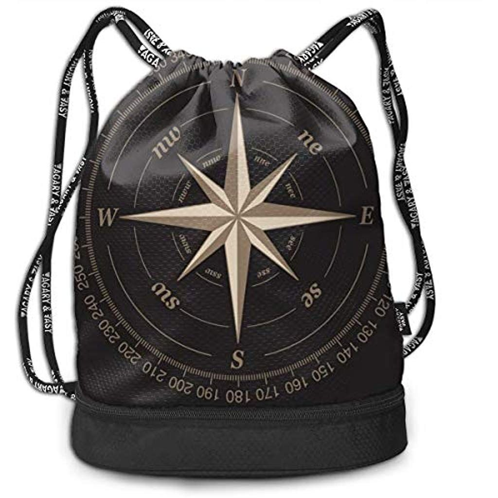 Vintage Compass Drawstring Backpack Bag Sport Training Gymsack Cinch Packs Waterproof Shoulder Rucksack With Slipper Compartment For Men Women Girls Use For Swimming Beach Vacation #Clothing Shoes-Jewelry #Luggage-Travel Gear #Backpacks #Kids' Backpacks #Clothing Shoes-Jewelry #Luggage-Travel Gear #Messenger Bags #Clothing Shoes-Jewelry #Luggage-Travel Gear #Gym Bags #Sports Duffels #beachvacationclothes