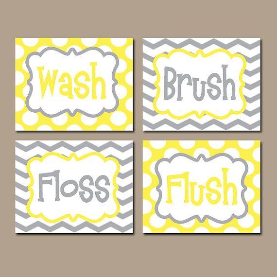 Yellow Gray Bathroom Rules Wall Art Canvas Or Prints Boy Girl Yellow Gray Wash Brush Floss Flush Choose Colors Chevron Polka Dots Set Of 4