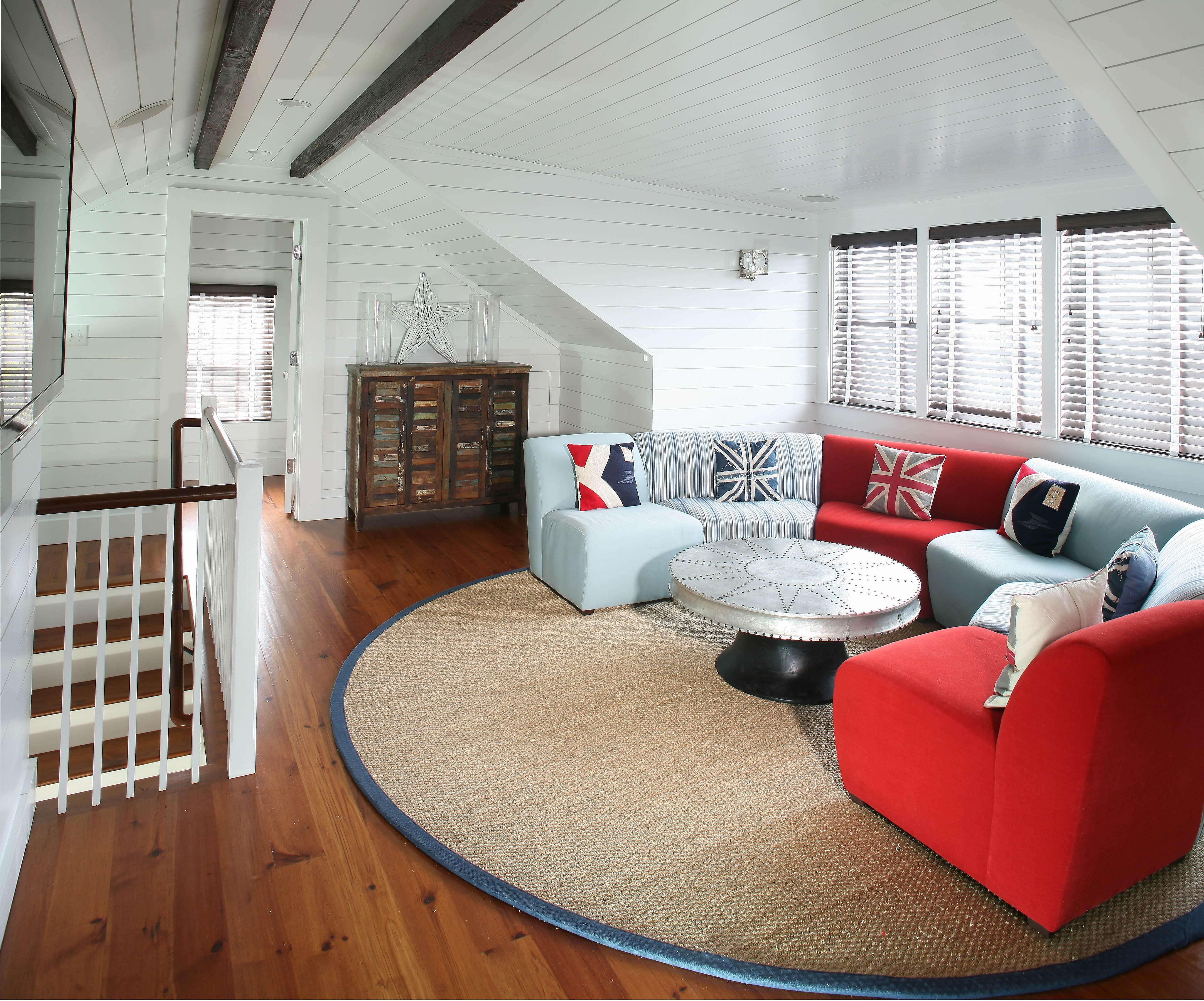 Attic upfit ceiling shiplap attic in 2019 finished - Ideas for dead space in living room ...