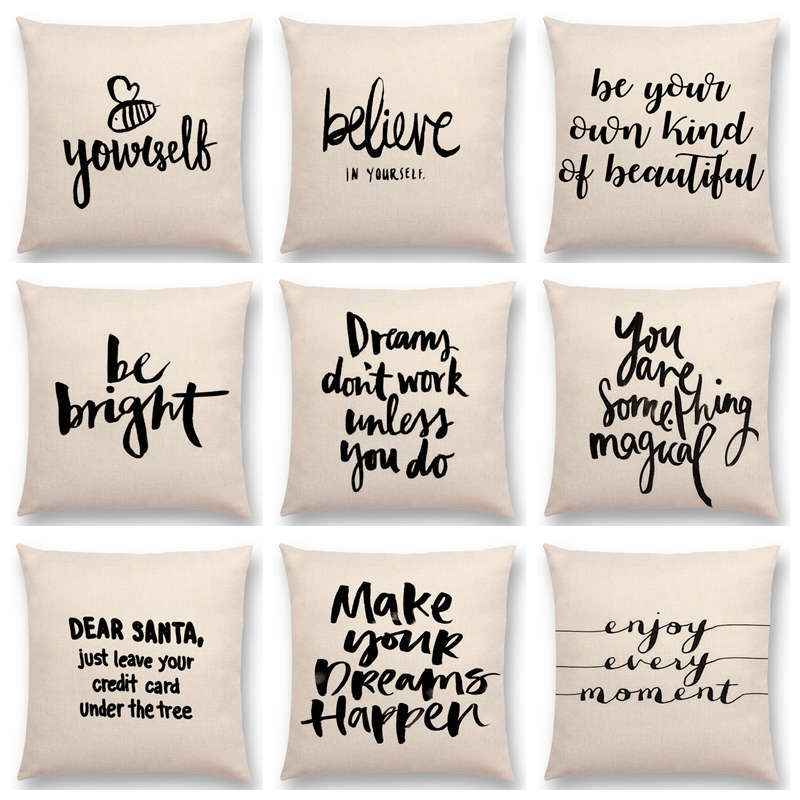 """Black Words Cushion Cover Letter Pillow Case Sofa Couch Modern Home Decor 18/"""""""