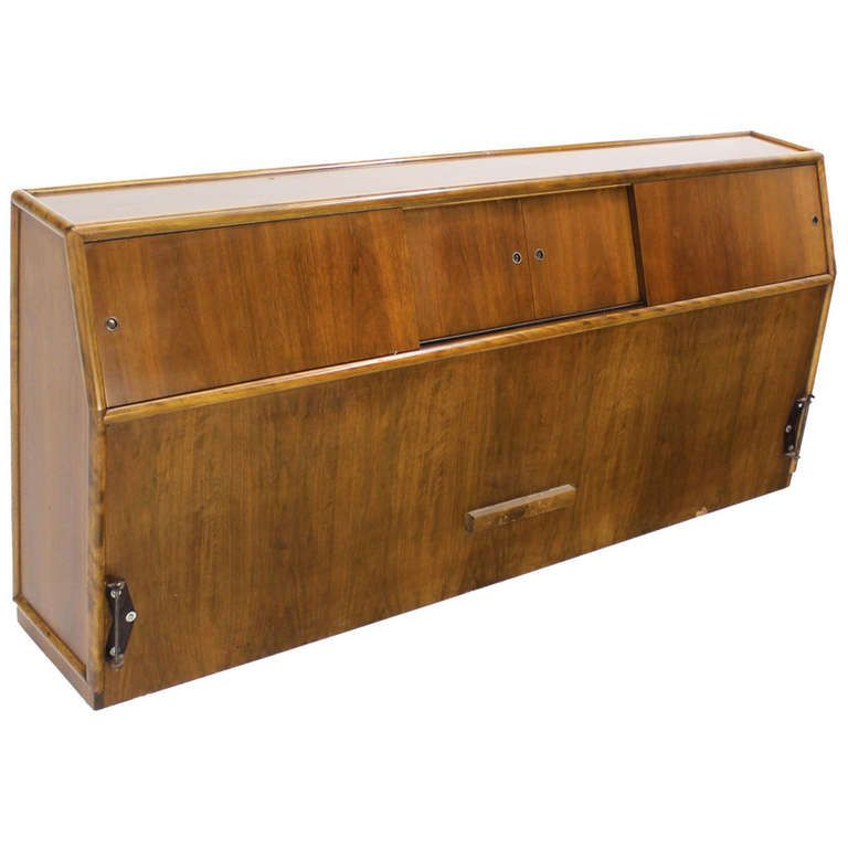 Mid Century Modern Walnut King Headboard Bed Sliding Doors Cabinet Bookcase  | From A Unique Collection