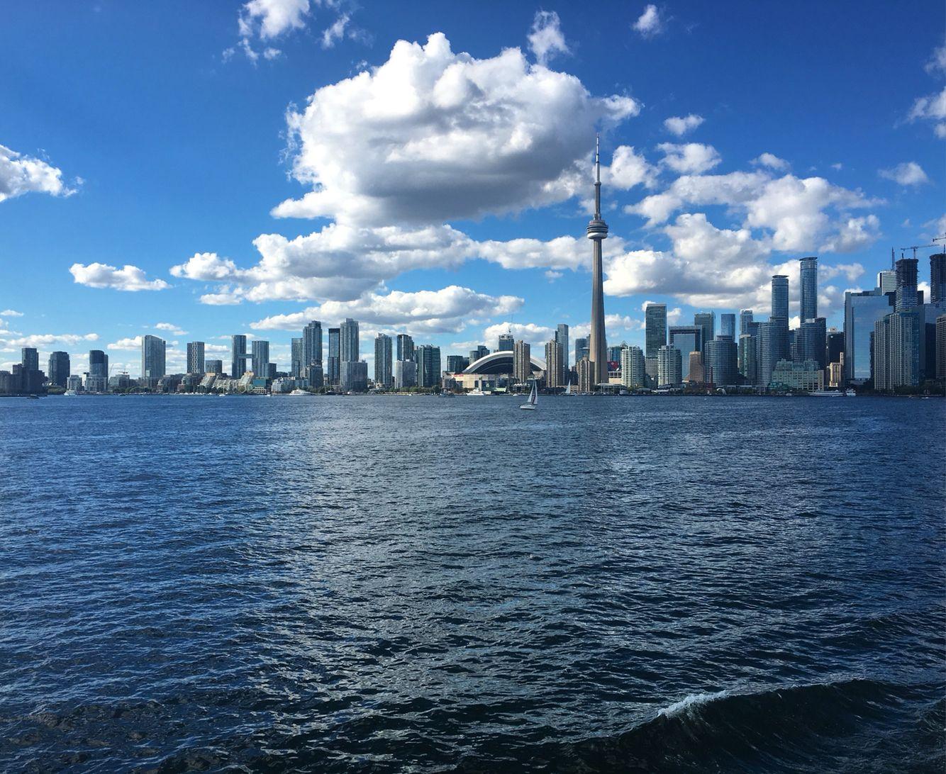 Toronto city skyline on route to the Toronto Islands