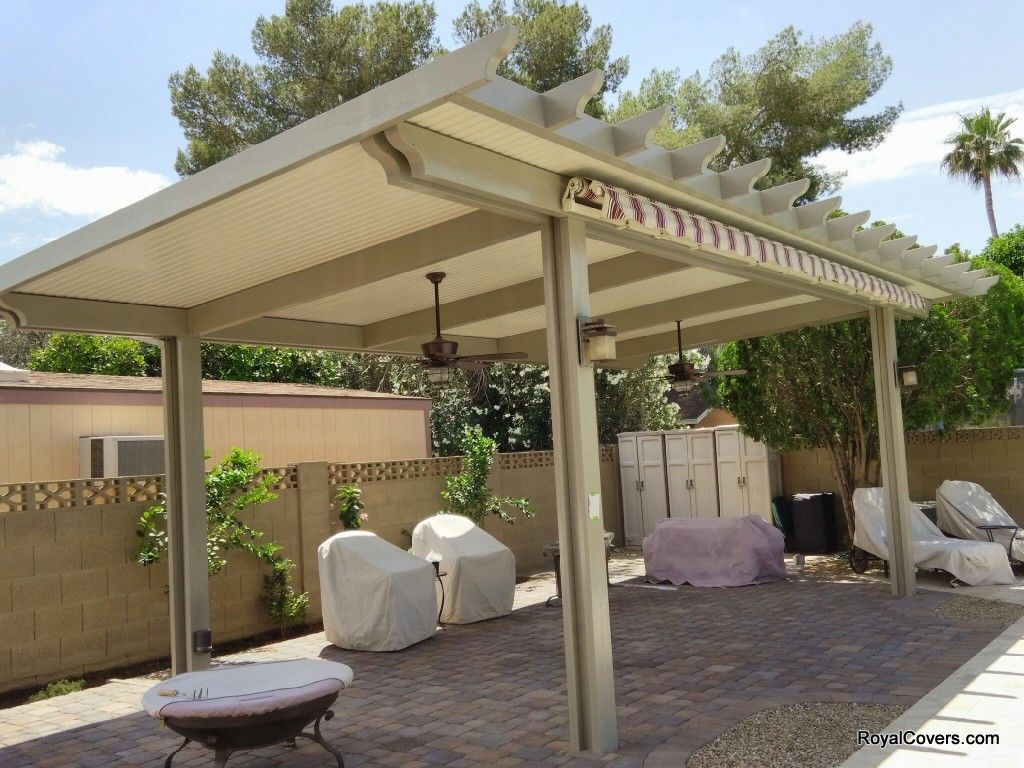 Freestanding Alumawood Solid Patio Cover Installed By Royal Covers Of Arizona In Mesa Az Pergola Patio Backyard Patio Covered Patio