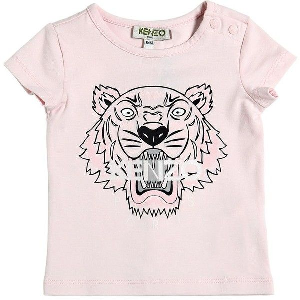 Kenzo Kids Kids-girls Tiger Printed Cotton Jersey T-shirt (460 NOK) ❤ liked on Polyvore featuring pink