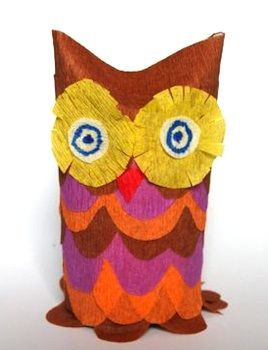 toilet paper roll and crepe paper owl found at qlturka